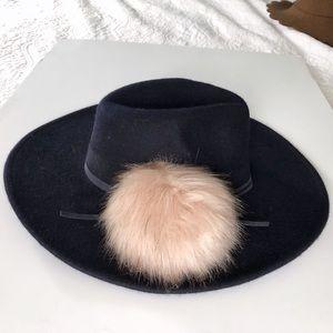 Navy Wool Felt Wide Brim Fedora Hat with Pom Pom